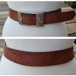 Ole Miss Rebels Brown Leather Belt 32